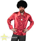MENS RED 1970S DISCO RUFFLE SHIRTS ADULTS FANCY DRESS COSTUME 70S FRILLY TOP