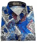 Mens Mandarin Paisley Pattern Thai-Silk-Shirts Small-XXXL / SHORT & LONG / no.14