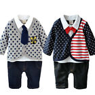 Newborn Baby Boys Formal Bow Tie Romper Bodysuit Infant Jumpsuit Outfits 0-18M
