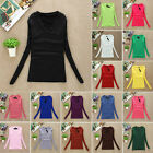New Women Autumn Long Sleeve Bodycon T-Shirt V Neck Stretchy Basic Tops Blouse