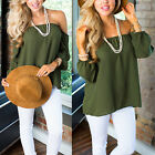 Sexy Women Off Shoulder Chiffon Strapless T-Shirt Casual Loose Tops Blouse AS