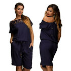 NEW Womens Big Size Crew Neck One Shoulder Off Jumpsuit Ladies Short Sleeve
