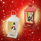 CERAMIC CHRISTMAS XMAS LANTERN MUSIC LIGHT SNOW FALLING LED SNOWMAN SANTA CLAUS