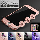 Luxury 360° Hybrid Acrylic Hard Case+Tempered Glass Cover For iPhone 7 / 7 Plus