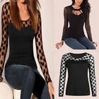 Ladies Women's Long Sleeve Shirt Polka Dot Casual Lace Blouse Tops T-Shirt Black