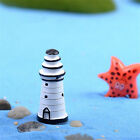2x Mini Lighthouse White Garden Home Yard Ornament Fairy Figurine Bonsai Craft