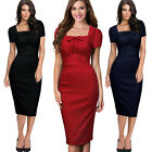 New Ladies Pencil Bodycon Elegant Women Midi Formal Business Evening Party Dress