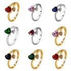 Women 18K Gold/Silver Plated Wedding Gemstone Ring Jewelry Band Size