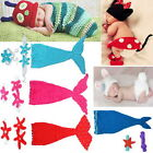 New Baby Boy Girl Crochet Beanie Mermaid Rabbit Outfit Sets Hat Photo Props 0-6M