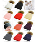 Childrens Boys Girls Ribbed Chunky Knitted Beanie Bobble Hat Detach Fur Pom Pom