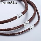 Trendsmax 4/6/8mm Mens Chain Brown Braided Cord Rope Man-made Leather Necklace
