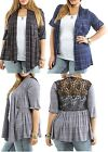 Short Sleeve Stripe Gathered Lace Back Shrug Open Front Cardigan/Cover-Up Plus