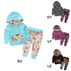 New Baby Girl Toddler Autumn Warm Hooded Leopard Cute Tops+Pants Outfits 2Pcs
