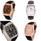 Beauty Multi-Color Leather Band Stainless Steel Number Quartz Men's Wrist Watch