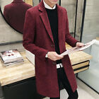 Men's Trendy 2 Button Pockets Winter Slim Fit  Casual Long Overcoat Coat Jackets