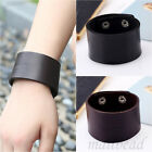 Men Genuine Leather Stainless Cuff Bangle Surfer Bracelet Wristband Brown Black