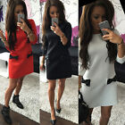 Stylish Women's 3/4 Sleeve Cotton Solid Bowknot Casual Mini Shirt Dress S-XL