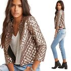 Fashion Women 3/4 Sleeve Open Front Sequined Short Slim Jacket N98B