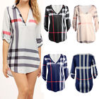 Fashion Women's Long Sleeve Casual Blouse Shirt V Neck Jumper Tops Loose T-shirt