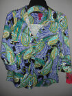 212 Collection TOP BLOUSE SHIRT BUTTON FRONT PAISLEY SIZE XS NEW WITH TAGS