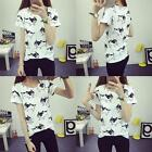 Fashion Women Animal Print Short Sleeve T Shirt Casual Tops Ladies Summer Blouse