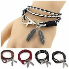 Fashion Unisex Leather Wrap Braided Wristband Cuff Faux Feather Charms Bracelet