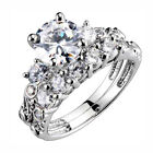 Sterling Silver 3 Stone 1.9 Ct Cubic Zirconia Women Engagement Wedding Ring Set