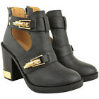 Ladies Womens Ankle Boots Mid Block Heels Gold Buckles Cut Out Zip Up Shoes Size