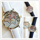 UNISEX Womens Mens Retro Fashion World Map Leather Analog Quartz Wrist Watch S`