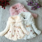 Toddler Baby Girls Kids Faux Fur Warm Outwear Winter Jacket Coat Snowsuit 1-5Y