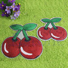 Hot Cherry Sew/Iron-On Patch Embroidered Red Applique Decorate Fruit Sequins
