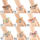New Women Students Casual Clay Flower Bracelet Table Quartz Ceramic Watch 1Pc