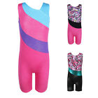 Girls One-piece Gymnastics Tank Leotards Ballet Athletic Sport Shortall 3-15Y