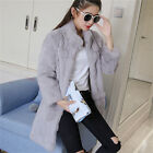 100% Rabbit Fur Women Long Coat Jacket Outwear Trendy Xmas Garment Clothing New