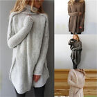 New Women Fall Winter Casual Long Sleeve Irregular Pullover Turtleneck Sweater H