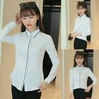 Womens OL Career Business Shirt Lapel Long Sleeve Slim Button Cotton Blouse Tops