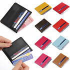Men Womens Real Leather Small Id Credit Card Wallet Holder Slim Pocket Case
