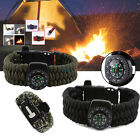 Survival Paracord Bracelet With Flint Fire Starter Compass Scraper Whistle Gear