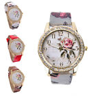 Women's Leather Stainless Steel Flower Dial Analog Quartz Fashion Wrist Watch H