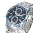 Luxury Mens Date Dial Silver Stainless Steel Sport Quartz Analog Wrist Watches