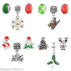 3Pcs/Set Mixed Christmas Charms Spacer Beads For European Bracelet