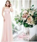 LOUISE Pale Pink Chiffon Bridesmaid Maxi Long Evening Dress UK Sizes 8 - 20