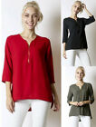 Women's Zip Front Slouchy Loose Fit 3/4 sleeve Casual chic Scoop neck Top Blouse