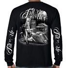 Mens Biker T-Shirt - Motorcycle Babe Fill'er Up Long Sleeve Black Shirts image