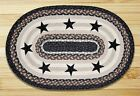 Black Stars Oval Braided Jute Placemat, #48-313BS