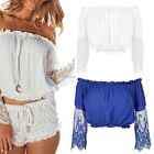 Women Sexy Lace Casual Strapless Long Sleeve T shirts Blouse Top Off Shoulder