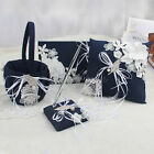 Classic Navy Wedding Ring Pillow Basket Guest Book Pen Set + Leaf Flower Ribbon