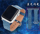 Luxury Blue Flash Genuine Real Leather Watch Band Strap For Apple Watch 38/ 42mm