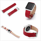 Red Embossed Real Genuine Leather Strap Bracelet Watch Bands For Apple Watch 1 2