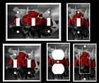 RED ROSES IN VASE BLACK AND WHITE IMAGE LIGHT SWITCH COVER PLATE